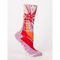 I'm a Girl. What's Your Superpower? Women's Crew Socks in Lilac Blast