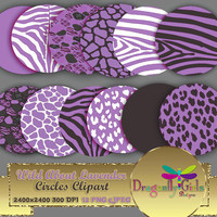 """80% OFF Sale WILD About Lavender Circles 8"""" clipart  digital paper, commercial use, scrapbook papers, background, Zebra Leopard Animal Print"""