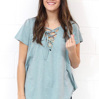 Relaxed Fit Lace Up V-neck {Steel Blue}