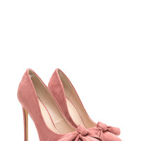 Let's Bow Pointy Faux Suede Heels