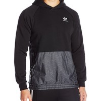 adidas Originals Men's Outerwear | Sport Luxe Mixed Fabric Hoodie, Black, Small