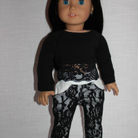 18 inch doll clothes, long sleeve crop shirt with lace trim, white pants with front lace overlay, american girl ,maplelea