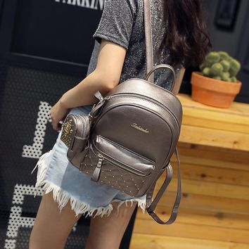 2017 New Women Backpack  Fashion Backpacks for Teenage Girls PU Leather Women's Backpacks with Purse 2 Sets
