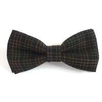 Brown Plaid Wool Bow Tie, Mens Bow Tie, Winter Bow Tie, Christmas Bow Tie, Plaid Bow Tie, Brown Bow Tie, Man Bow Tie