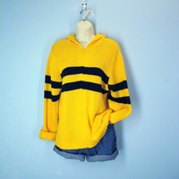 Vintage 80s Sweater / Bright Gold Navy Striped Sweater Hoodie / Super Soft Slouchy