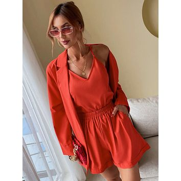 Solid Cami Top & Shorts & Lapel Neck Dolman Sleeve Belted Blazer