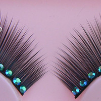 Underwater Love - Ultra Sparkly Exclusive False Eyelashes with Blue-Green Preciosa Crystal Diamante for all PinUp Divas