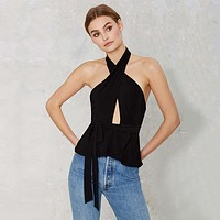Fashion Solid Color Hollow Halter Sleeveless Backless Frills T-shirt Tops