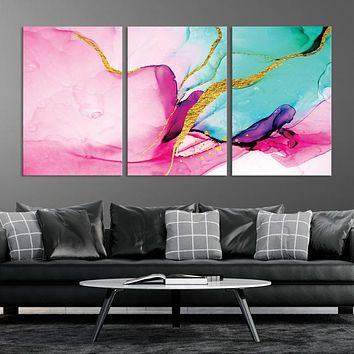 Large Pink Green Abstract Wall Art Marble Decor Canvas Print