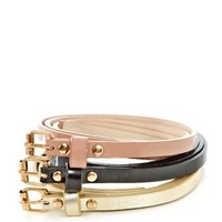 Inspire 3 Pack Pink Black and Gold Super Skinny Belts