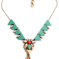 Women Green Triangle Bib Faux Stone Necklace