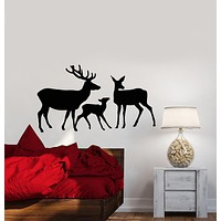 Vinyl Wall Decal Abstract Deer Family Forest Animals Stickers (2455ig)