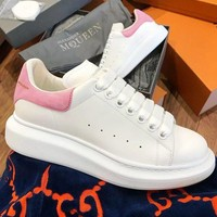 ALEXANDER MCQUEEN Fashion Woman Casual Sneakers Sport Shoes(Velvet Tail) Pink
