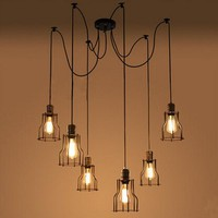New E27 Industrial Retro Vintage Adjustable Huge Chandelier DIY Cage 6 Heads Pendant Ceiling Light Lamp Holder Fixtures