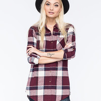 Full Tilt Womens Extreme Fit Flannel Shirt Burgundy  In Sizes