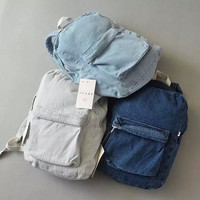 Comfort Back To School Casual Hot Deal College On Sale Stylish Classics Rinsed Denim 3-color Vintage Denim Backpack [6332335364]