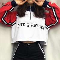 Sweetown Long Sleeve Harajuku Sweatshirt Top Spliced Oversized Autumn Winter Hoodie Korean Style Kawaii Crop Hoodies Sweatshirts