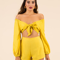 It's A Bow-tiful Day Top And Shorts Set