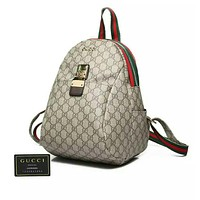 GUCCI Popular Woman Men Leather Bookbag Shoulder Bag Backpack Daypack Grey I-MYJSY-BB
