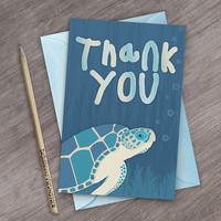 Printable Sea Turtle Thank You Cards for Kids Birthday Parties Under The Sea Thank You Note Digital Turtle Party Thank You Card Turtle Cards