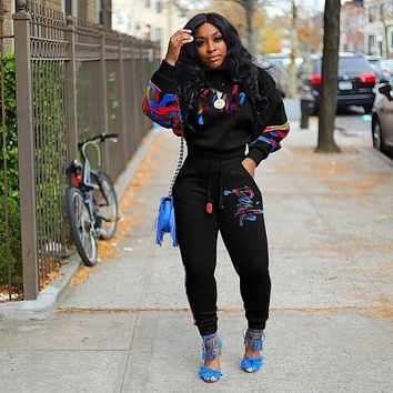 2 Two Piece Set Women track suit tops and pants hooded suit fashion big jogging femme sets two piece outfits sweat suits