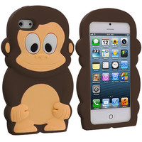 Brown Monkey Silicone Design Soft Skin Case Cover for Apple iPhone 5 / 5S
