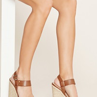 Faux Leather Espadrille Wedges
