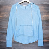 35mm clothing - gigi washed out pull over hoodie in vintage blue