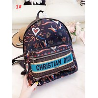 DIOR Fashion New Letter Print Multicolor Retro Women High Quality Leisure Backpack Bag 1#
