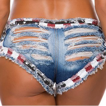 New hot sale sexy denim low waist sexy ripped women's clothing