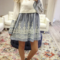 Meet Me In Barcelona Knit Bell Sleeve Sweater Dress With Embroidered Chambray Skirt