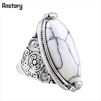 Women Vintage Oval Natural Stone Ring
