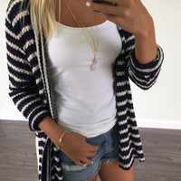 Luck Of The Stylish Navy Lace Bottom Cardigan
