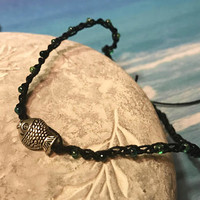 Crocheted Anklet Seed Beads Adjustable Blue and green hand made boho