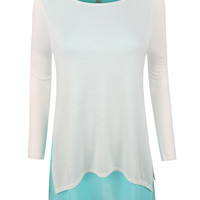 LE3NO Womens Lightweight Round Neck 3/4 Sleeve Flowy Tunic Top (CLEARANCE)