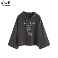 Dotfashion Womens Hoodies Pullover Woman's Fashion Fall 2016 Kawaii Sweatshirt  Dark Grey Coffee Cup Print Hooded Sweatshirt
