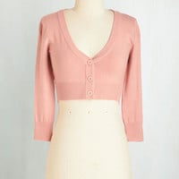 Pastel Short Length 3 Cropped The Dream of the Crop Cardigan in Rose