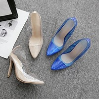 Sexy Women Shoes Pointed Toe Transparent High Heels