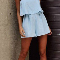 Plain Light Blue Strappy Romper