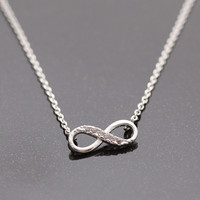 INFINITY necklace with crystals, 2 colors(plated, 925silver) | girlsluv.it - handmade jewelry collection, ETSY, Artfire, Zibbet, Earrings, Necklace