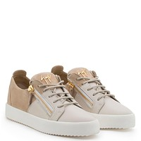 Giuseppe Zanotti Gz Double White Calf Leather And Beige Suede Low-top