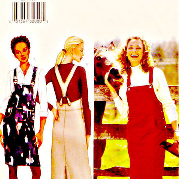 Overall Style Bib Front Straight Jumper Pattern Side Buttons Shoulder Straps Two Lengths Butterick 6705 Sewing Patterns Uncut Size 6 8 10