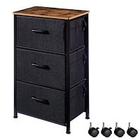 EKNITEY 3 Drawers Nightstand, Small Dresser Chest Sturdy Side End Table with Fabric Drawers and Wheels for Bedroom, Living Room, Office, Closet