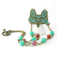 Turquoise Fox Necklace, Etched Metal Pendant, Beaded Chain, Brass Jewelry, Antiqued, Spring Jewelry, Animal Jewelry, Hipster