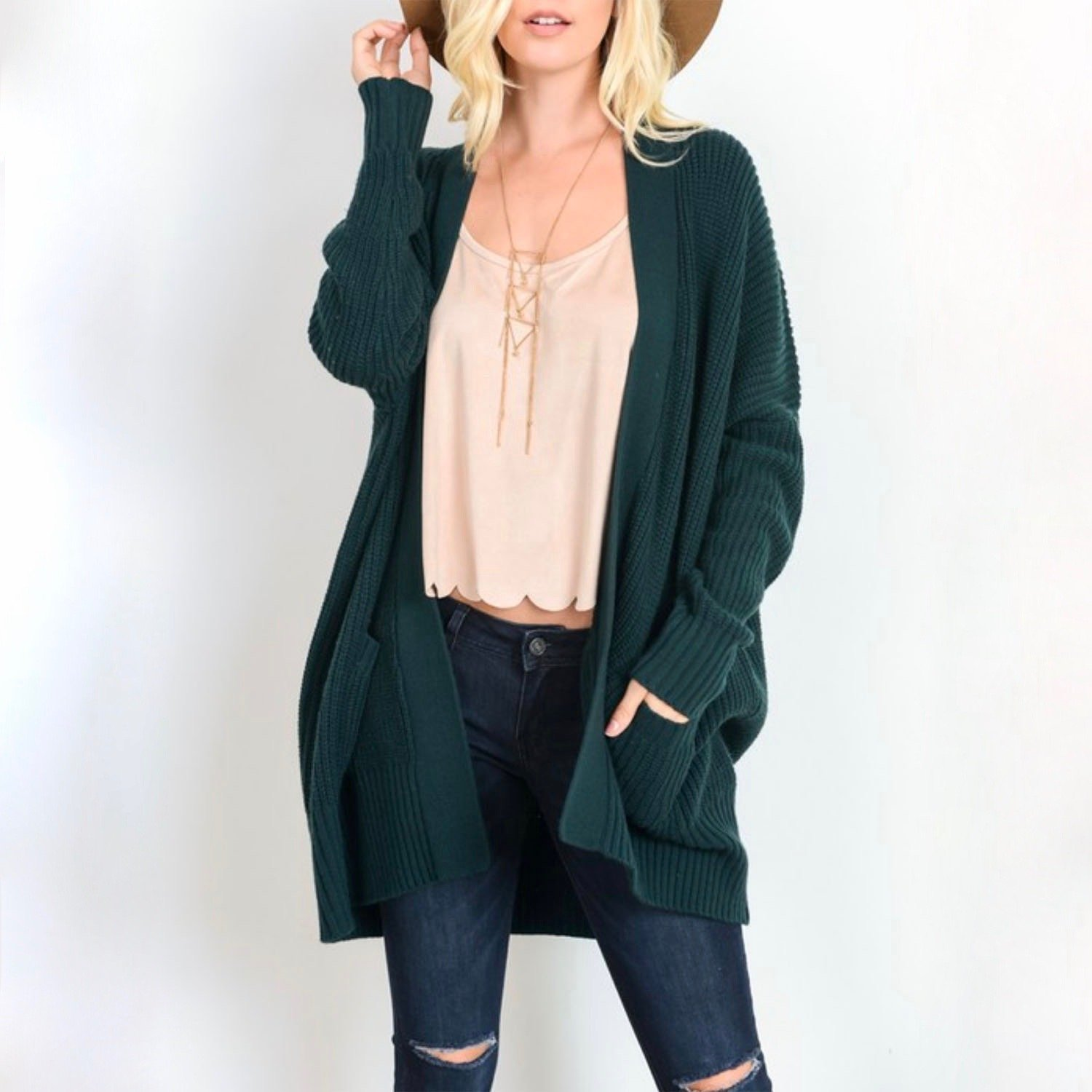 Image of Southern Comfort Open Knit Cardigan in Teal