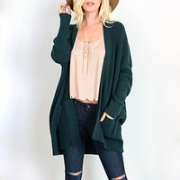 Southern Comfort Open Knit Cardigan in Teal