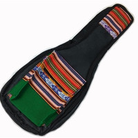 Peru Hand-Made Half-Accent Padded Ukulele Bag in Green India