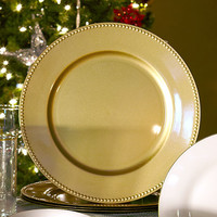 Bulk Gold Plastic Charger Plates with Beaded Rims, 13 in. at DollarTree.com