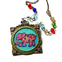 Indian Pink Elephant Necklace Hand Painted Colorful Boho Jewelry