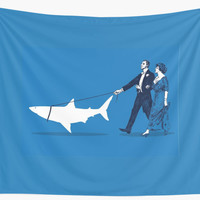 'Walking the Shark' Wall Tapestry by robCREATIVE